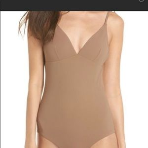 New Tory Burch Marina one piece swimsuit tan xl